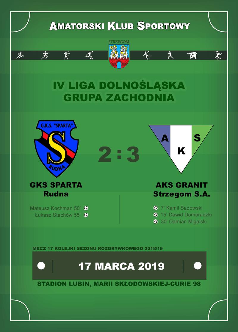 GKS Sparta Rudna vs AKS GRANIT Strzegom S.A.
